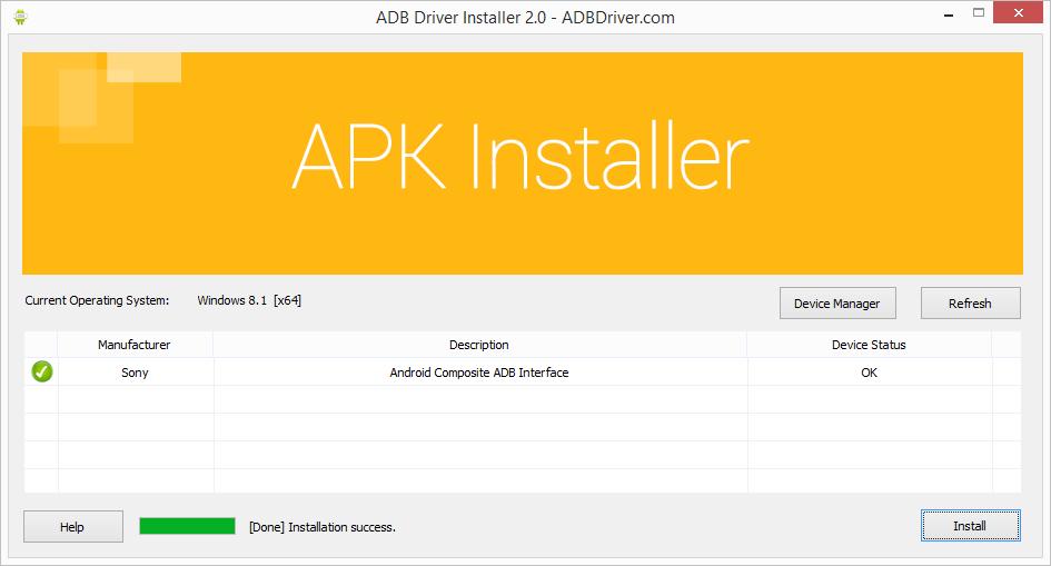 adb driver installer installation success